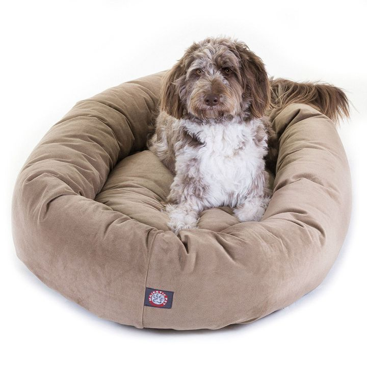 Majestic Pet Suede Dog Bed donut-shaped main