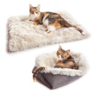 convertible furry cat mat that can be easily folded into a bed