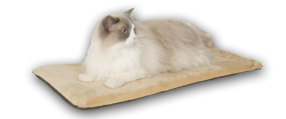 Heated cat mat with a built-in thermostat