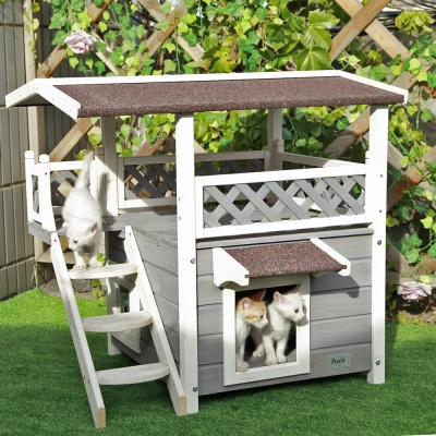 2-Story Outdoor Wood Cat House