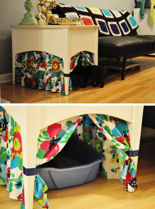 how to hide a litter box using a curtain