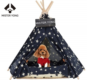 Yongs Pet Dog Teepee with Cushion Portable Puppy Bed Tent