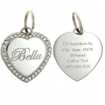 Heart Swaroski Zirconia Dog Tags
