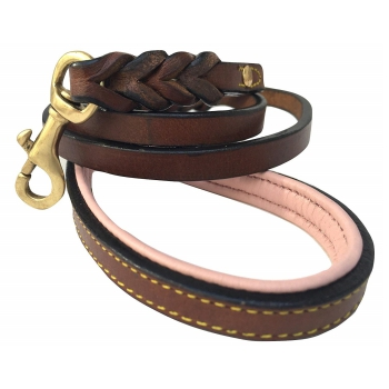 Soft Touch Leather Braided Dog Leash