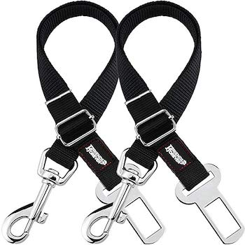 Friends Forever Adjustable Black Nylon Dog Car Seat Belt | 2 Pack