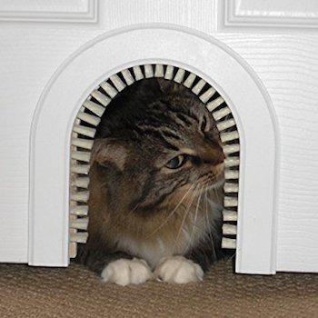 Cathole Interior Cat Door With A Grooming Brush