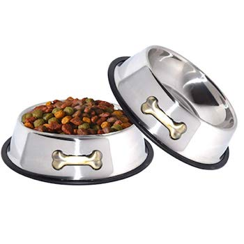 GPET Stainless Steel Dog Bowls with Anti-Skid Rubber Base