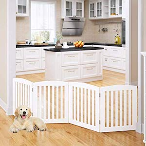 PAWLAND Wooden Freestanding Foldable Pet Gate