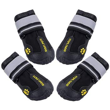 QUMY Waterproof Dog Boots with Reflective Velcro & Rugged Anti-Slip Sole