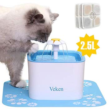 Veken Automatic Dog Water Fountain with 3 Replacement Filters
