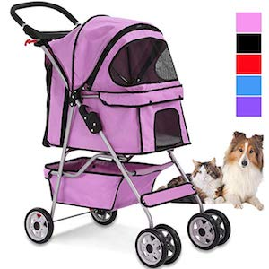 Dkeli 4 Wheels Pet Stroller for Dogs