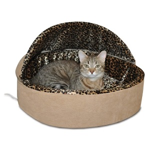 Hooded K&H Heated Cat Bed