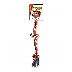 Mammoth Flossy Chews Cottonblend Color 3-Knot Rope Tug